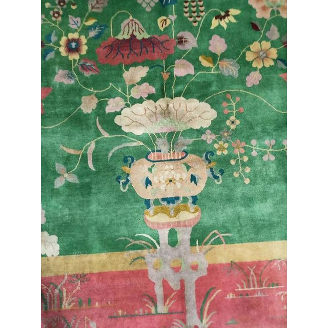 """Antique Chinese Art Deco Rug 8'10"""" X 11'6"""" For Sale - Image 4 of 5"""