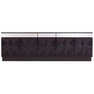 Brutalist Sideboard With Brushed Steel Details For Sale