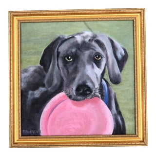 """Contemporary """"Lab Loves Fetch"""" Oil Painting For Sale"""
