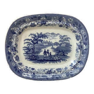 19th-Century Large English Blue & White Ironstone Platter Eton College For Sale