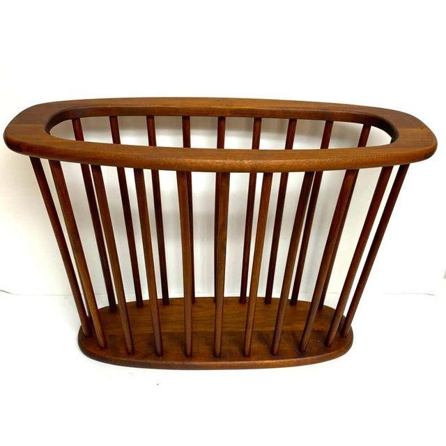 Wood Danish Modern Oval Spindle Teak Magazine Rack For Sale - Image 7 of 8