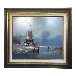 Dutch Windmill On Frozen Pond By Harrij Van Dongen For Sale