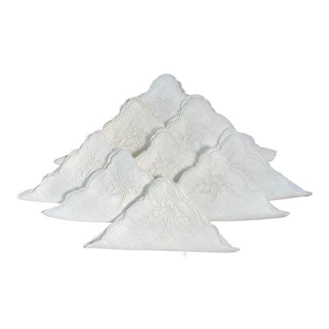 Vintage White Linen Embroidered Napkins- Set of 8 For Sale