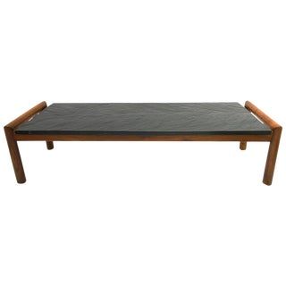 Mid-Century Modern Brutalist Slate and Walnut Coffee Table by Adrian Pearsall For Sale
