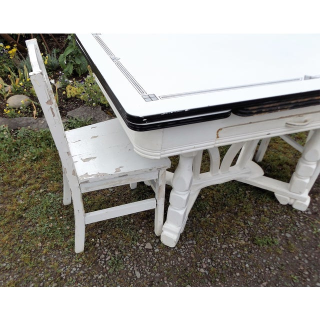 White Porcelain Expandable Farmhouse Table Set - Image 8 of 11