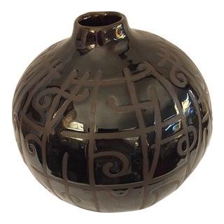 Maitland-Smith Black Glazed Vase For Sale