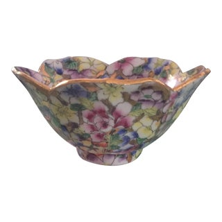 Vintage Hand Painted Multi Color Gold Floral Lotus Bowl For Sale