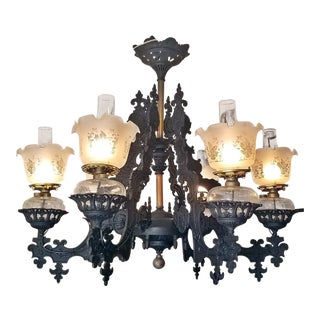 19c Bradley & Hubbard Cast Iron 6 Arm Chandelier For Sale