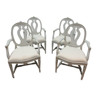 Swedish Gustavian Classic Arm Chairs - Set of 4 For Sale