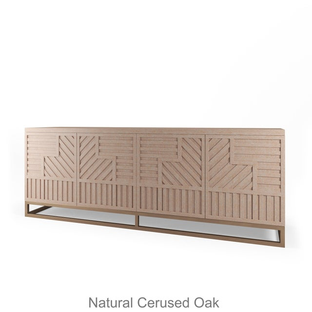 Not Yet Made - Made To Order Stria Credenza - Brushed Brass Base, Natural Cerused Oak For Sale - Image 5 of 5