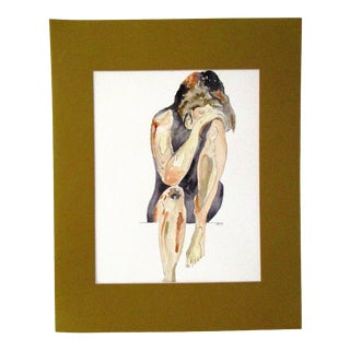 """Figurative """"After"""" Watercolor Painting For Sale"""