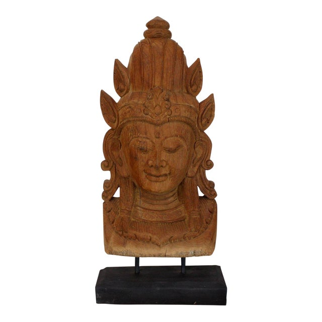 Fine Carved Teak Mask on Stand Sculpture of Buddha For Sale