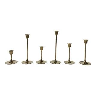 Mid-Century Modern Brass Candlesticks - Set of 6 For Sale
