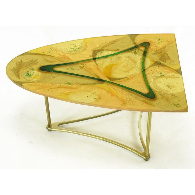 Abstract Demi-Ellipse Abstract Cast Resin & Brass Cocktail Table For Sale - Image 3 of 8