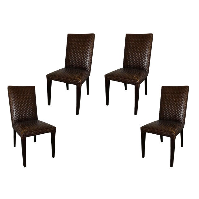 Stone International Modern Italian Woven Leather Dining Chairs- Set of 4 For Sale