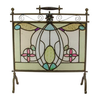 Stained Glass Firescreen For Sale