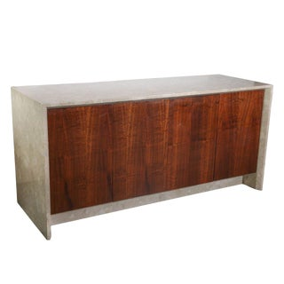 Mid Century Modern Italian Polished Travertine Marble and Rosewood Sideboard