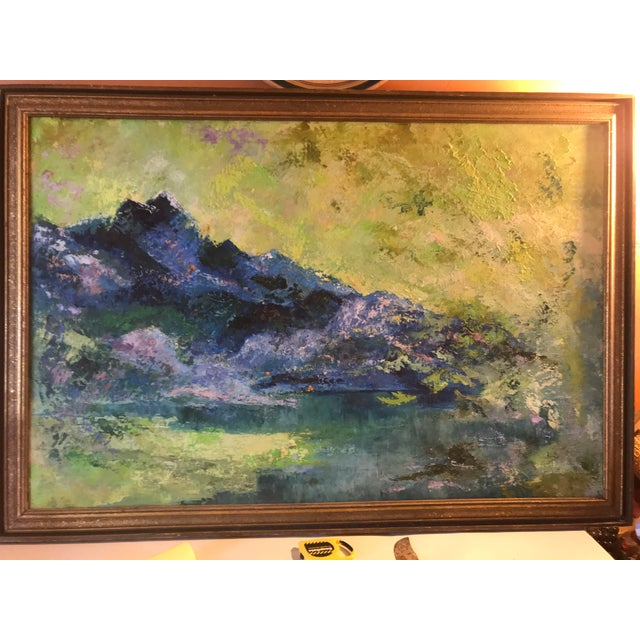 Mid-Century Purple Mountains Landscape Painting For Sale - Image 6 of 10