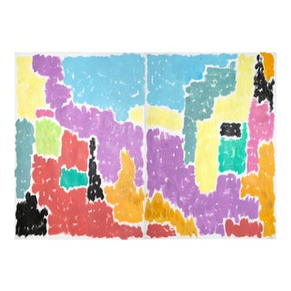 Leaving the City Diptych Abstract Shapes Cityscape Painting by Natalia Roman For Sale
