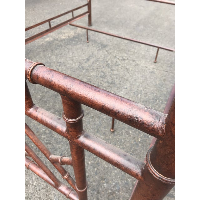 1980s Vintage Chinoiserie Faux Bamboo Chippendale Queen Size Canopy Bed For Sale - Image 5 of 6