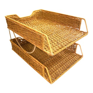 1970's Vintage Boho Chic Two Tier Paper Organizer For Sale