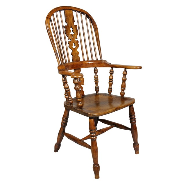 Set of Four Assembled Regency Yewwood Windsor Armchairs For Sale - Image 11 of 13