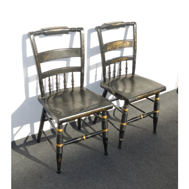 Black Vintage Spindle Back Windsor Chairs - A Pair - Image 4 of 11