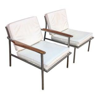 Mid-Century Aluminum Frame & Walnut Armchairs - A Pair