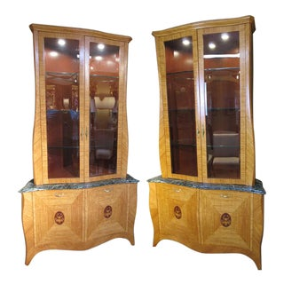 A Custom Made Satinwood Corner Cabinets - a Pair For Sale