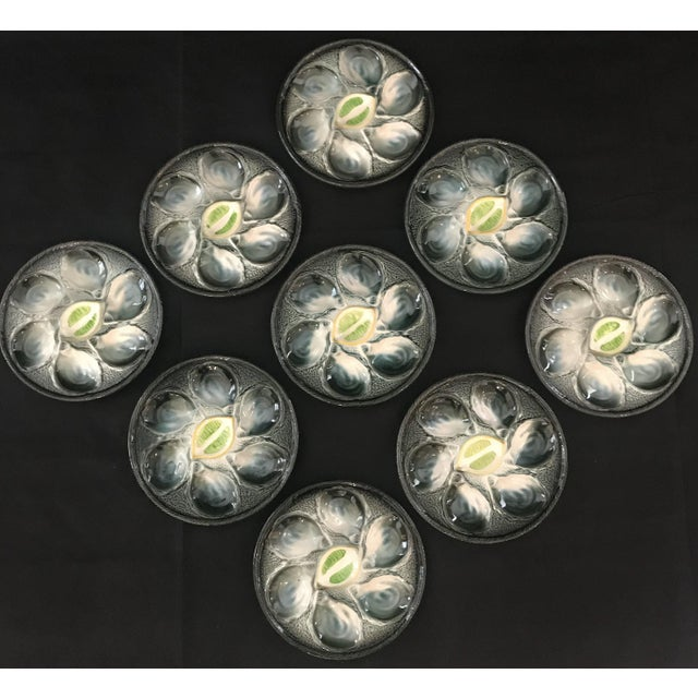 Vintage French Saint Clement Oyster Plates - Set of 9 For Sale In Portland, ME - Image 6 of 6