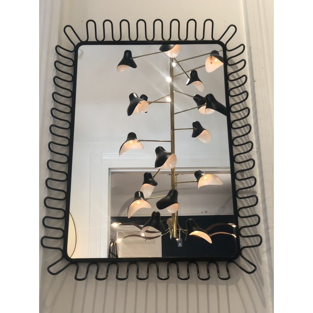Contemporary 1950's French Ringed Metal Frame Mirror For Sale - Image 3 of 3