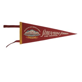 Vintage Streamline Ferries Lake Champlain Felt Flag Pennant For Sale