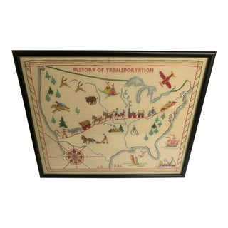 1956 Framed Us Map Transportation Cross Stitch For Sale