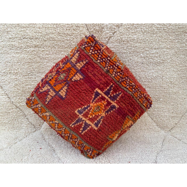 Tribal Moroccan Red Unstuffed Pouf For Sale - Image 3 of 13