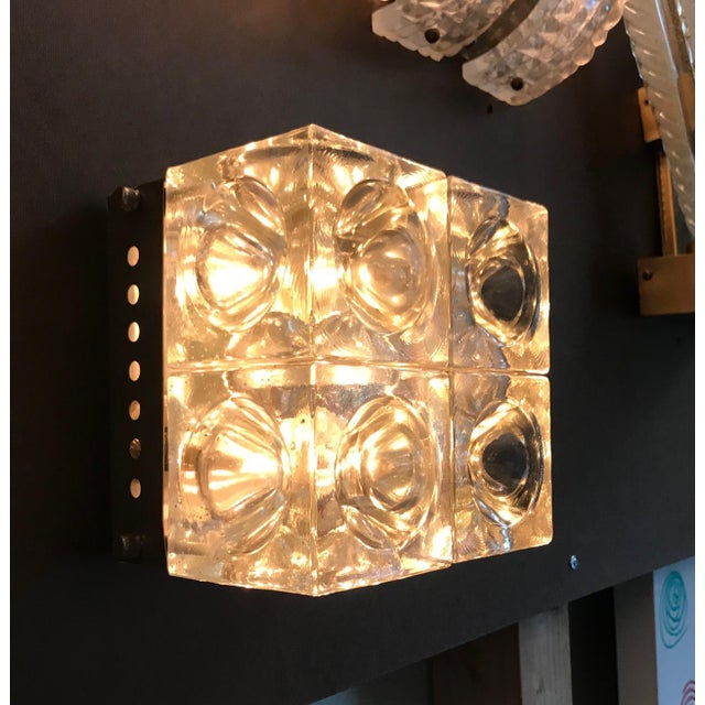 Transparent Italian Murano Glass Cube Sconces / Flush Mounts by Poliarte - a Pair For Sale - Image 8 of 11