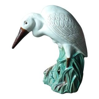 Vintage Majolica Egret Statue For Sale