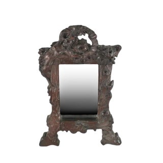 Art Nouveau Figural Hand-Carved Wooden Mirror For Sale