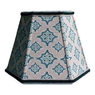 Small Hexagon Clip-On Blue Green Diamonds Linen Lampshade For Sale