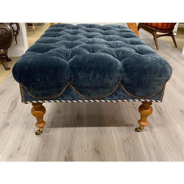 2000 - 2009 Velvet Tufted Navy Blue Ottoman on Casters W/ Nailhead and Cording Detail For Sale - Image 5 of 8