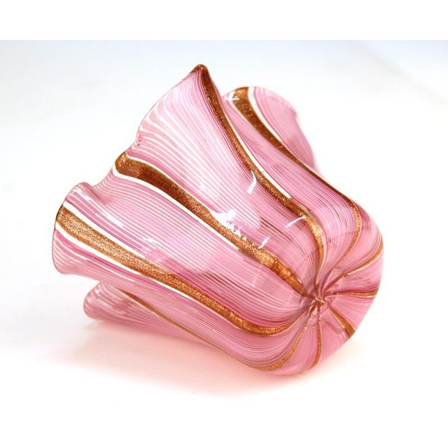 Murano Glass Handkerchief Vase in Pink & Gold For Sale - Image 4 of 9
