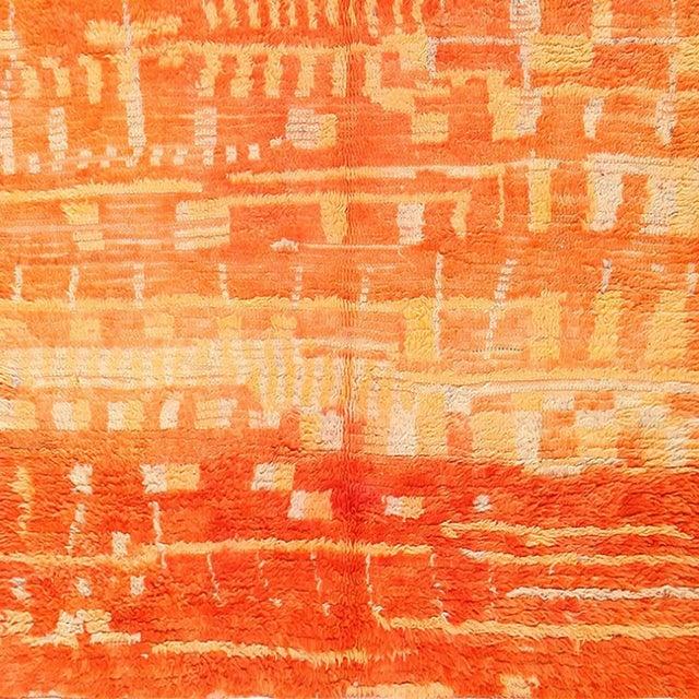 Boho Chic Vintage Moroccan Orange Wool Rug - 4′6″ × 6′6″ For Sale - Image 3 of 6