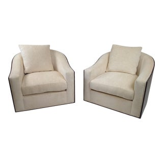 Modern Walnut Swivel Lounge Chairs - a Pair For Sale
