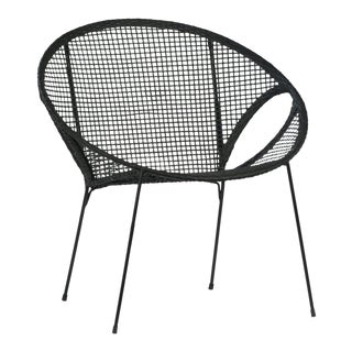 Black Rattan & Iron Cone Chair For Sale