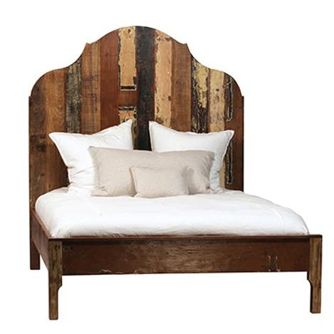 Reclaimed wood queen size bed frame with a colorful, distressed paint finish. This bed frame is unique, modern, and...