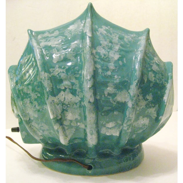 Green Ceramic Shell Shape Table Lamp - Image 5 of 6