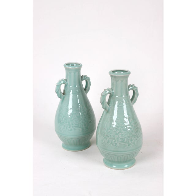 Green Vintage Celadon Pear Shaped Porcelain Vase For Sale - Image 8 of 13