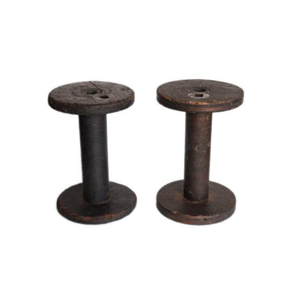 Antique large wood metal spools set of 2 chairish Where can i buy reclaimed wood near me