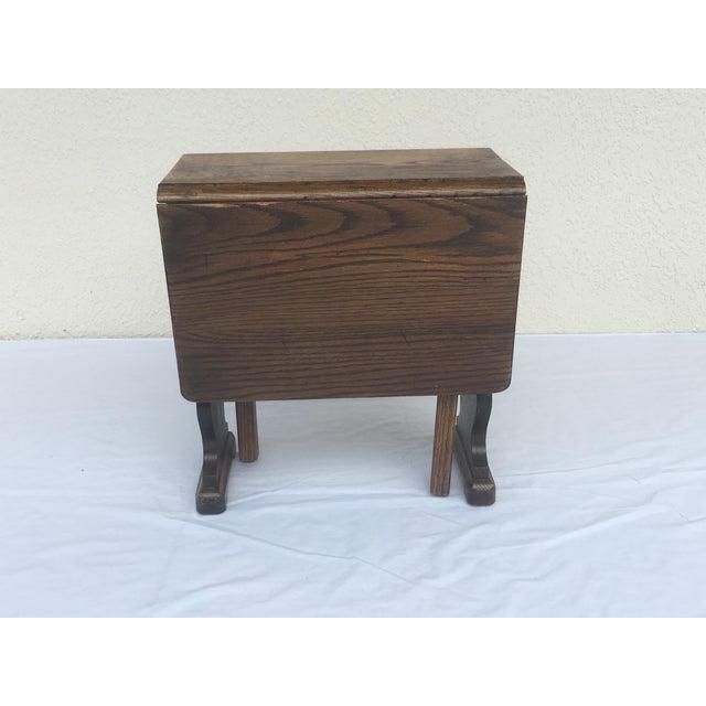 Small Petite Mini Vintage Mid-Century Wood Drop Leaf Side Table For Sale - Image 13 of 13