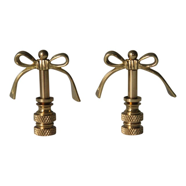Brass Bow Finials - A Pair - Image 1 of 2