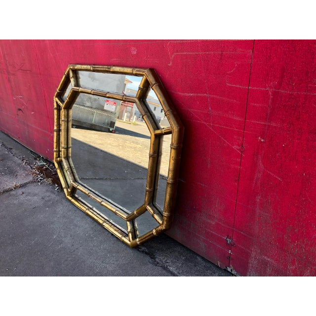 Hollywood Regency Gold Gilt Faux Bamboo Horizontal Vertical Wall Mirror For Sale - Image 4 of 9